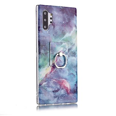 Недорогие Чехлы и кейсы для Galaxy Note-Кейс для Назначение SSamsung Galaxy Note 9 / Note 8 / Galaxy Note 10 Кольца-держатели / Ультратонкий / С узором Кейс на заднюю панель Мрамор ТПУ