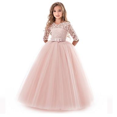 povoljno Novo u ponudi-Djeca Djevojčice Cvijet Princeza Party Jednobojni Čipka Haljina purpurna boja