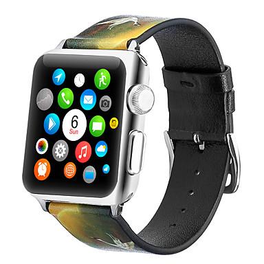 voordelige Smartwatch-accessoires-kraanpatroon armband lederen band voor Apple Watch 40 mm / 44 mm / 42 mm / 38 mm Correa armband band voor iwatch-serie 5/4/3/2/1