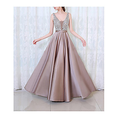cheap Black Friday-Women's Cocktail Party Prom Maxi A Line Dress - Solid Colored Beaded V Neck Spring Black Purple Blushing Pink S M L XL / Sexy