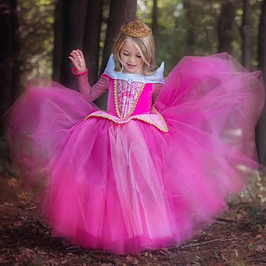 povoljno Novo u ponudi-Djeca Dijete koje je tek prohodalo Djevojčice slatko Slatka Style Jednobojni Žakard Čipka Vezica Dugih rukava Maxi Haljina Svjetloplav