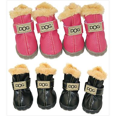 رخيصةأون ملابس وإكسسوارات الكلاب-كلب أحذية و جزم جزم الثلج مقاومة الماء الدفء موضة لون سادة للحيوانات الأليفة جلد PU سويدي مادة مختلطة أسود