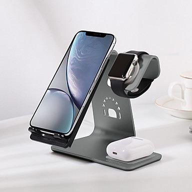 tanie Akcesoria do smartwatchów-bestand nowa szybka bezprzewodowa ładowarka 3 w 1 aluminiowa podstawa biurkowa dla Airpods / iPhone 11/11 pro / XR / XS / 8/8 Plus i Apple Watch Series