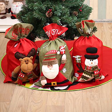 olcso Lakberendezés-nagy háromdimenziós vászon karácsonyi ajándék táska Mikulás ajándék táska