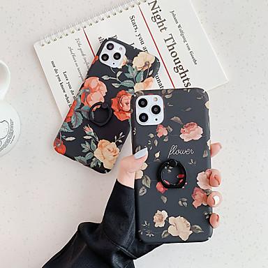 Недорогие Кейсы для iPhone 7-Кейс для Назначение Apple iPhone 11 / iPhone 11 Pro / iPhone 11 Pro Max Кольца-держатели / С узором Кейс на заднюю панель Цветы ТПУ