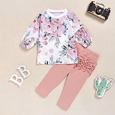 رخيصةأون ملابس الرضع-مجموعة ملابس كم طويل لون سادة / طباعة للفتيات طفل