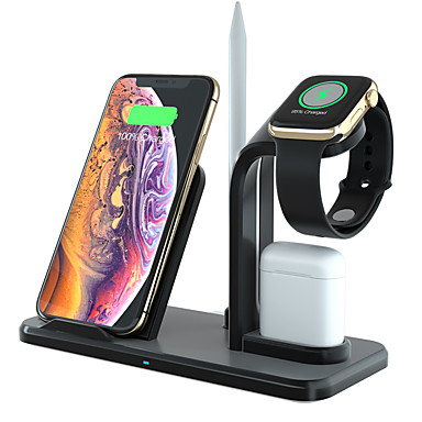 cheap Wireless Chargers-Wireless Charger 3 in 1 Charging Holder Compatible with Apple Watch Series 5 4 3 2 1 AirPods 10W Qi Wireless Charging for iPhone 11 Pro Max/11 Pro/11/X/XS/XR/Xs Max/Samsung S10
