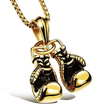 رخيصةأون القلائد-رجالي قلائد الحلي قلادات السلسلة ستايل سلسلة الثعلب سلسلة دوكي قفازات الملاكمة أنيق أوروبي هيب هوب سبيكة أسود ذهبي فضي 60 cm قلادة مجوهرات 1PC من أجل هدية شارع