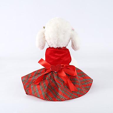 رخيصةأون ملابس وإكسسوارات الكلاب-كلاب الفساتين الشتاء ملابس الكلاب أحمر كوستيوم فصيل كورجي كلب صيد شبعا اينو تيريليني Plaid / Check ببيونة فساتين & تنورات تصميم أنيق XXS XS S M L