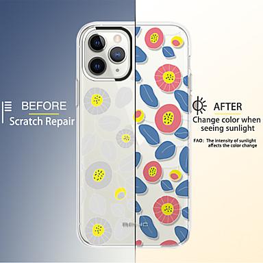 voordelige iPhone-hoesjes-hoesje Voor Apple iPhone 11 / iPhone 11 Pro / iPhone 11 Pro Max Schokbestendig / IMD / Transparant Achterkant Lijnen / golven / Veren / Bloem TPU / silica Gel