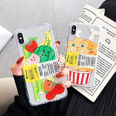 Недорогие Кейсы для iPhone-Кейс для Назначение Apple iPhone XS / iPhone XR / iPhone XS Max Защита от удара / Прозрачный / С узором Кейс на заднюю панель Продукты питания ТПУ