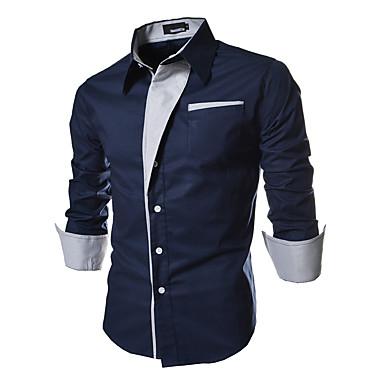 ieftine Muške košulje-Bărbați Zilnic Mărime Plus Size Cămașă Mată De Bază Manșon Lung Zvelt Topuri Bumbac Guler Larg Alb Negru Rosu / Primăvară / Toamnă