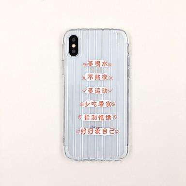 olcso iPhone 6s tokok-Case Kompatibilitás Apple iPhone XS / iPhone XR / iPhone XS Max Ultra-vékeny / Átlátszó / Minta Fekete tok Szó / bölcselet / Átlátszó TPU