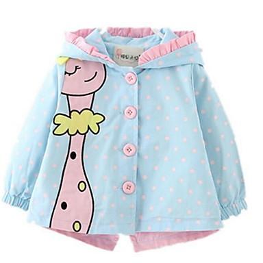 رخيصةأون ملابس الرضع-معطف المطر قطن منقط أساسي للفتيات طفل / طفل صغير