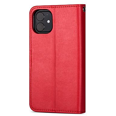 voordelige iPhone-hoesjes-hoesje Voor Apple iPhone 11 / iPhone 11 Pro / iPhone 11 Pro Max Kaarthouder Volledig hoesje Effen / Tegel PU-nahka