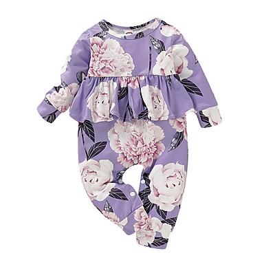 رخيصةأون ملابس الرضع-قطع واحدة كم طويل ورد للفتيات طفل