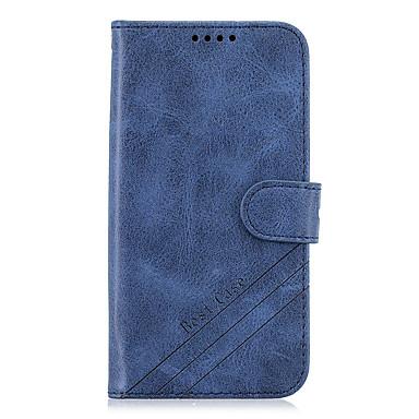 رخيصةأون حافظات / جرابات هواتف جالكسي J-غطاء من أجل Samsung Galaxy S9 / S9 Plus / S8 Plus محفظة / حامل البطاقات / مع حامل غطاء كامل للجسم لون سادة جلد PU