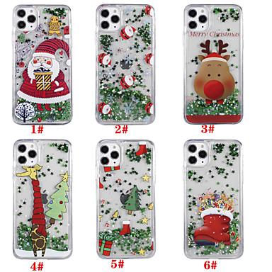 Недорогие Кейсы для iPhone 7-Кейс для Назначение Apple iPhone 11 / iPhone 11 Pro / iPhone 11 Pro Max Движущаяся жидкость / С узором / Сияние и блеск Кейс на заднюю панель Рождество ТПУ