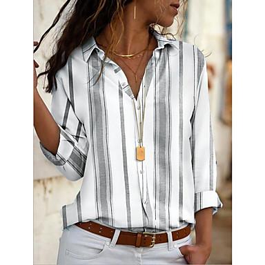 povoljno Novo u ponudi-Majica Žene Dnevno Prugasti uzorak Kragna košulje Bijela