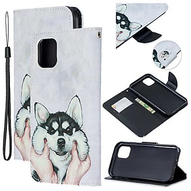 Недорогие Кейсы для iPhone 7-Кейс для Назначение Apple iPhone 11 / iPhone 11 Pro / iPhone 11 Pro Max Кошелек / Бумажник для карт / со стендом Чехол С собакой Кожа PU
