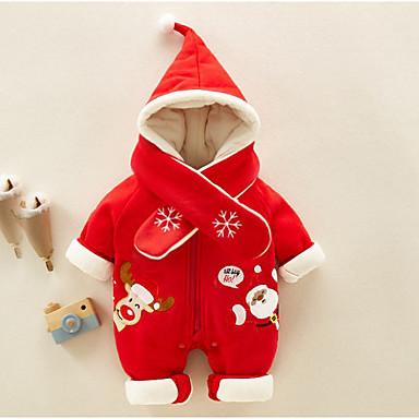 abordables Ropa de Bebés-Bebé Chica Básico Geométrico / Navidad Manga Larga Algodón Una Pieza Rojo