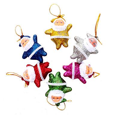 povoljno Dekoracija doma-12 komada pomiješanih lutka Djeda Mraza visi mini ukrasi za božićno drvce sa zlatnim prahom