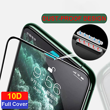 cheap iPhone Screen Protectors-10D Anti-dust Full Cover Tempered Glass Screen Protector For Iphone 11 pro max X Xr Xs max 7 8 Plus HD Dust-Proof
