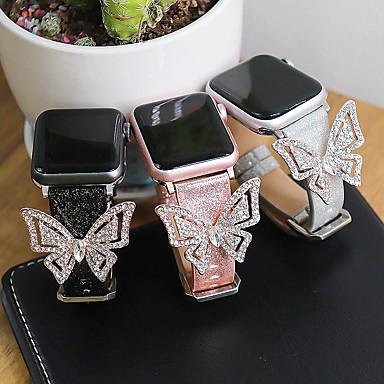 Недорогие Аксессуары для смарт-часов-ремешок из кожи бабочки с бриллиантами для apple watch 5 4 3 2 1 группа 44 мм 40 мм 42 мм 38 мм новые модные женские ремешок для часов для iwatch