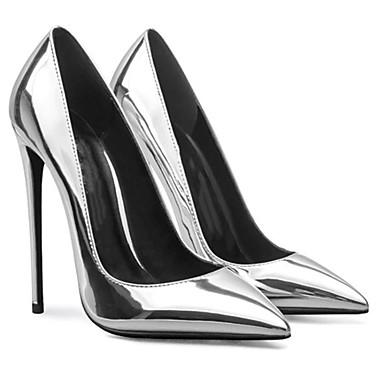 Недорогие Женская обувь на каблуках-Жен. Обувь на каблуках На шпильке Заостренный носок Лакированная кожа Весна & осень Красный / Серебряный