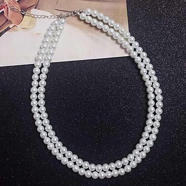 olcso Gyöngy nyakláncok-Női Fehér Rakott nyakláncok Gyöngy Fehér 40 cm Nyakláncok Ékszerek Kompatibilitás Napi