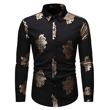 povoljno Muške košulje-Majica Muškarci Dnevno Geometrijski oblici Crn