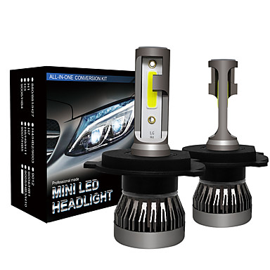 voordelige Autokoplampen-2 stks auto led koplamp mini maat h4 hi / lo beam led koplamp lampen auto licht lamp mistlampen 6000 k 12 v