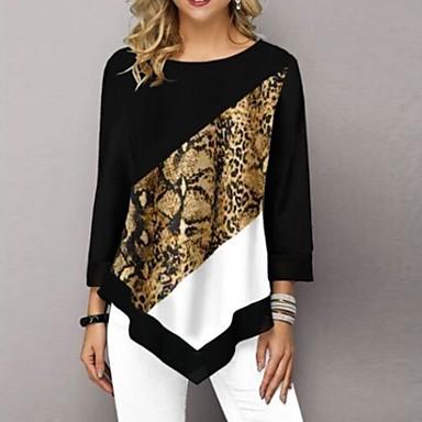 cheap Blouses & Shirts-Women's Daily T-shirt Leopard 3/4 Length Sleeve Tops Black