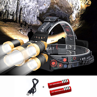cheap Headlamps-Headlamps Cap Lights Headlight 2000 lm LED 5 Emitters 4 Mode with Batteries and USB Cable Portable Windproof Cool Easy Carrying Wearproof Camping / Hiking / Caving Diving / Boating Cycling / Bike