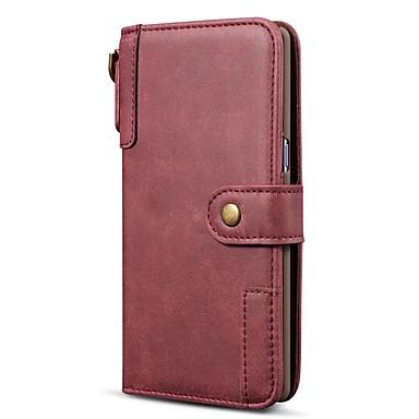 Недорогие Чехлы и кейсы для Galaxy Note-Кейс для Назначение SSamsung Galaxy Note 9 / Note 8 / Galaxy A30 (2019) Кошелек / Бумажник для карт / Защита от удара Чехол Однотонный Настоящая кожа