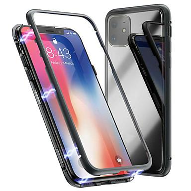 Недорогие Кейсы для iPhone-Кейс для Назначение Apple iPhone 11 / iPhone 11 Pro / iPhone 11 Pro Max Магнитный Кейс на заднюю панель Однотонный Закаленное стекло / Металл