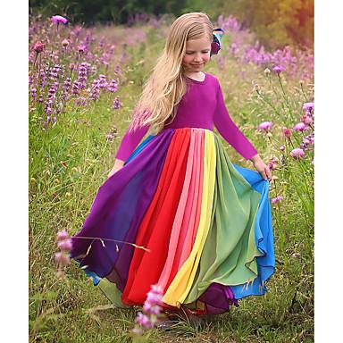 povoljno Novo u ponudi-Djeca Dijete koje je tek prohodalo Djevojčice Aktivan Boho Jednobojni Kolaž Dugih rukava Maxi Haljina Fuksija