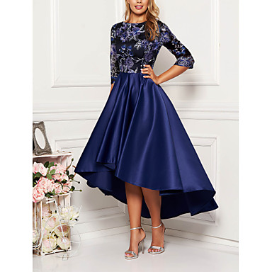 cheap 2020 Trends-Women's Cocktail Party Homecoming Elegant & Luxurious Swing Dress - Geometric Print Spring Navy Blue M L XL XXL