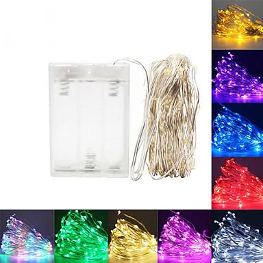 olcso LED szalagfények-led string fények 5m 50 led ezüst drót koszorú otthoni karácsonyi esküvői party dekoráció hajtott egy akkumulátor tündér fény
