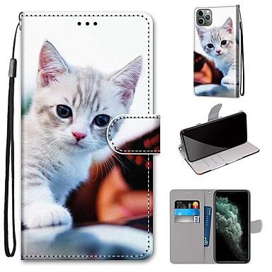 billiga iPhone X och Plus-fodral-fodral Till Apple iPhone 11 / iPhone 11 Pro / iPhone 11 Pro Max Plånbok / Korthållare / med stativ Fodral Katt PU läder / TPU
