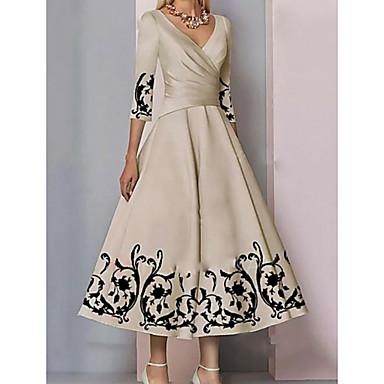 hesapli Gelin Annesi Elbiseleri-A-Şekilli Gelin Annesi Elbisesi Zarif & Lüks Boyun eğme çizgisi Bilek Boyu Saten 3/4 Kol ile Tema / Baskı 2020