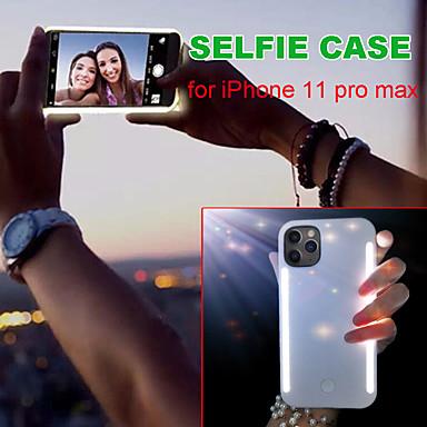 رخيصةأون أغطية أيفون-حالة selfie لآيفون 11 برو ماكس الأجيال الفاخرة مضيئة led حالة الهاتف لآيفون x xs ماكس xr 7 8 حامي غطاء أصفر فاتح