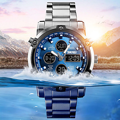 cheap Sport Watches-Men's Sport Watch Military Watch Digital Watch Digital Stainless Steel Black / Silver 30 m Water Resistant / Waterproof Alarm Chronograph Analog - Digital Casual Fashion - Silver / Black Silvery