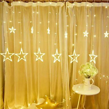 olcso Szalagfény készlet-1db 12 ötágú csillag led húr világos csillagos ég lámpa függöny vízesés lámpa jég lámpás koszorú dekoratív 8 vaku mód