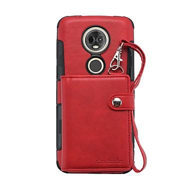 Недорогие Чехлы и кейсы для Motorola-Кейс для Назначение Motorola Moto G6 Plus / Moto E5 Plus Кошелек / Бумажник для карт / Защита от удара Кейс на заднюю панель Однотонный Кожа PU