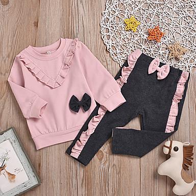 رخيصةأون ملابس الرضع-مجموعة ملابس كم طويل خملة الجاكوارد فراشة للفتيات طفل