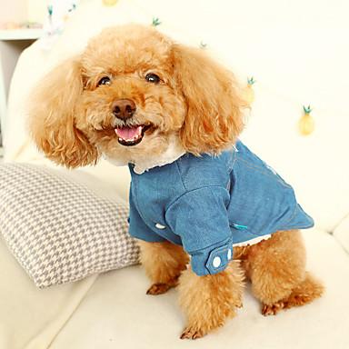 رخيصةأون ملابس وإكسسوارات الكلاب-قط كلب جواكيت جينز الشتاء ملابس الكلاب رمادي كوستيوم الدنيم جينزات ريفي موضة XS S M L XL