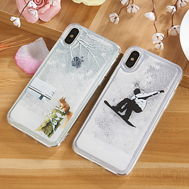 cheap iPhone Cases-Case For Apple iPhone X / iPhone 8 Plus / iPhone 8 Flowing Liquid / Pattern / Glitter Shine Back Cover Cartoon / Tree / Glitter Shine TPU