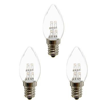 olcso LED izzók-3db 1 W LED gyertyaizzók 20 lm E12 4 LED gyöngyök Dip LED Dekoratív Meleg fehér Fehér 100-240 V