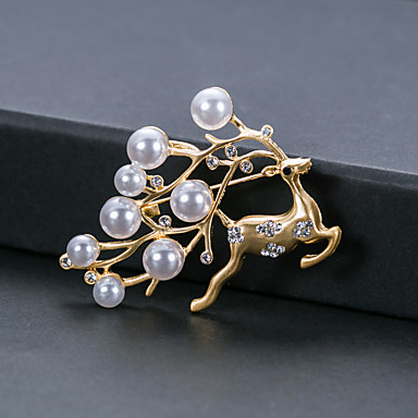 povoljno Broševi-Žene Biseri Broševi Klasičan Los Jelen slatko Elegantno Broš Jewelry Zlatan Za Vjenčanje Party